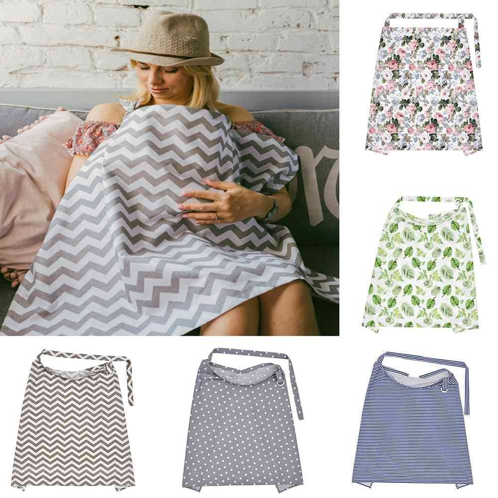 Cotton Breathable Mother Breastfeeding Cover, Outdoor Baby Shawl Feeding Covers Apron Maternity Pads