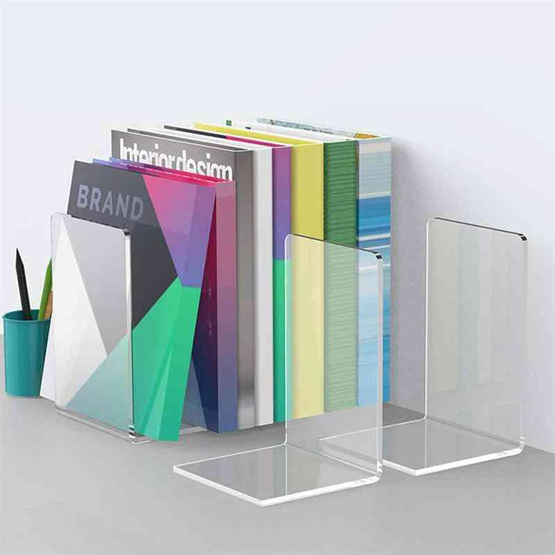 Adorable Bookends Concise Bookstand, Acrylic Book Rack