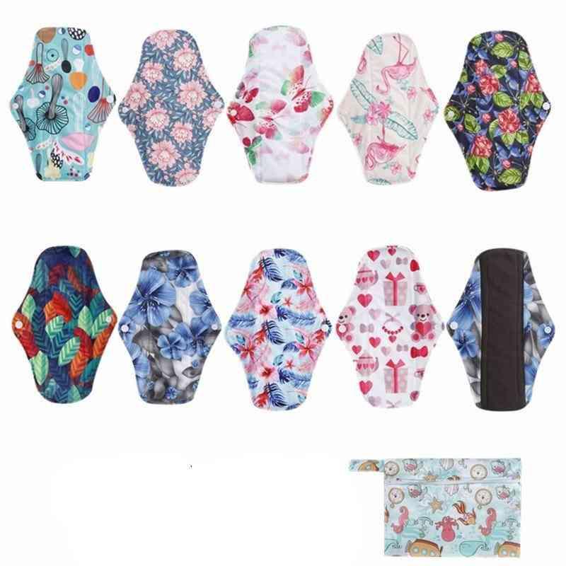 Bamboo Fiber Sanitary Regular Flow Pad, Reusable Health Higiene Feminina Menstrual Cloth Pads