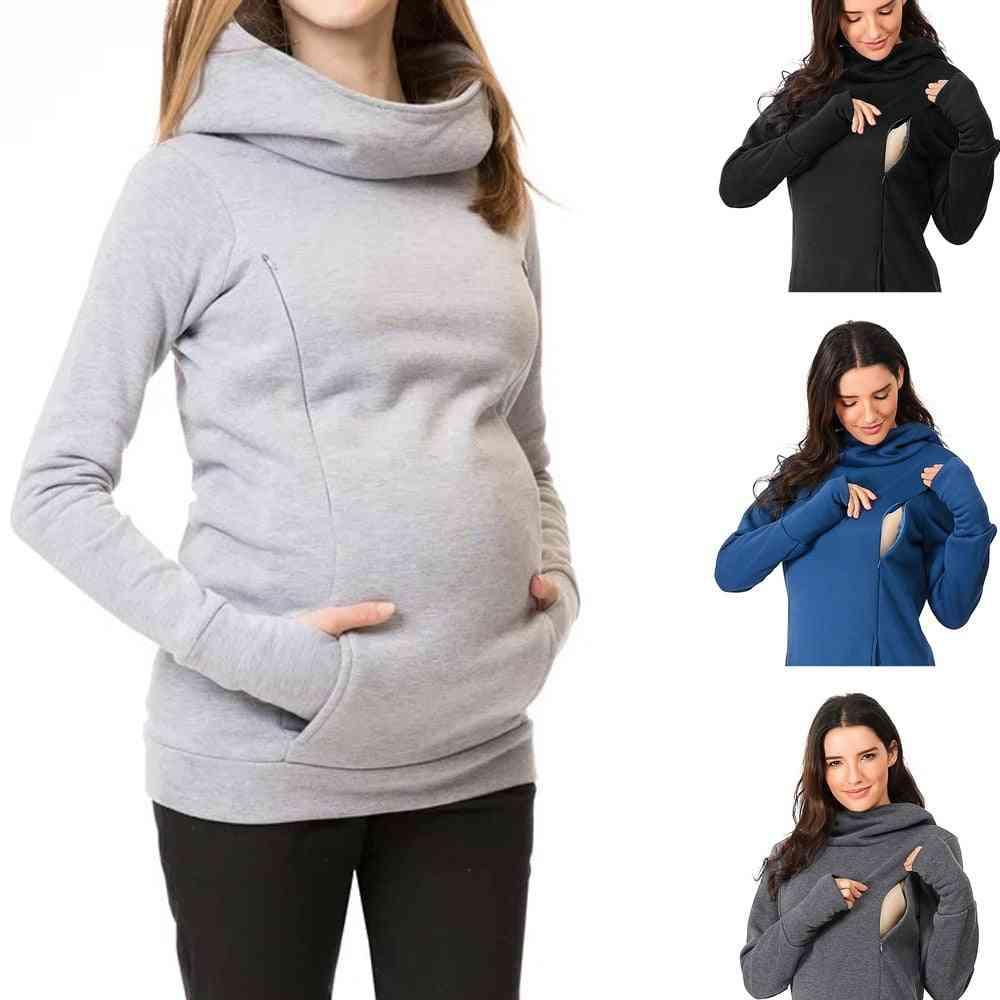 Women Nursing Maternity Long Sleeves Hooded Breastfeeding Hoodie Sweatshirts