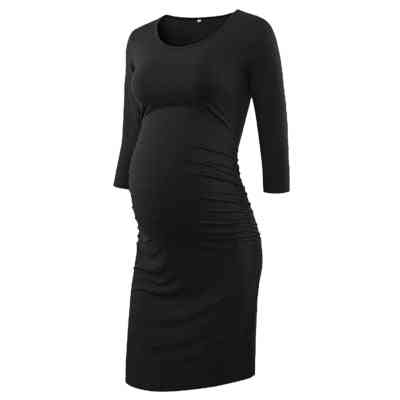 Side Ruched, Wrap Maternity Sleeve Bodycon Pregnancy Dress