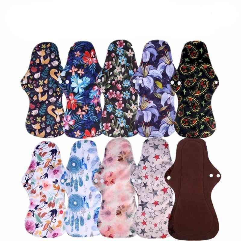 Organic Bamboo Charcoal Washable Hygiene Menstrual Pads, Heavy Flow Sanitary Cloth Pads