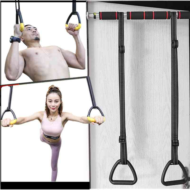 Gymnastics Rings Abs With Heavy Duty Adjustable Straps Non-slip For Stretching Exercise