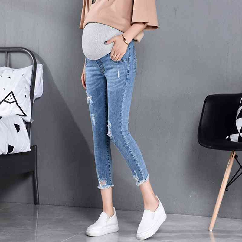 Maternity Jeans, High Waist Belly Skinny Pencil Pants Clothes