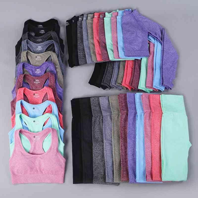 Women Seamless Yoga Set Fitness Sports Suits, Long Sleeve Shirts High Waist Running Leggings