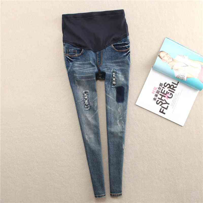 Elastic Waist Hole Stretch Denim Maternity Belly Jeans Pants Clothes