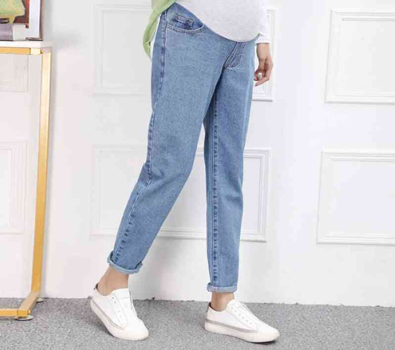 Maternity Harem Dad Jeans, Loose Pants For Pregnant Women, High Waist Belly Pregnancy Straight Trousers