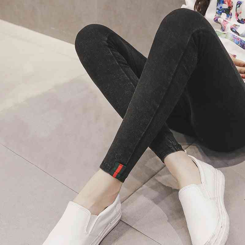 Pencil Elastic Maternity Jeans, Nursing Pregnancy Leggings Trousers Cotton Denim Pants Clothing
