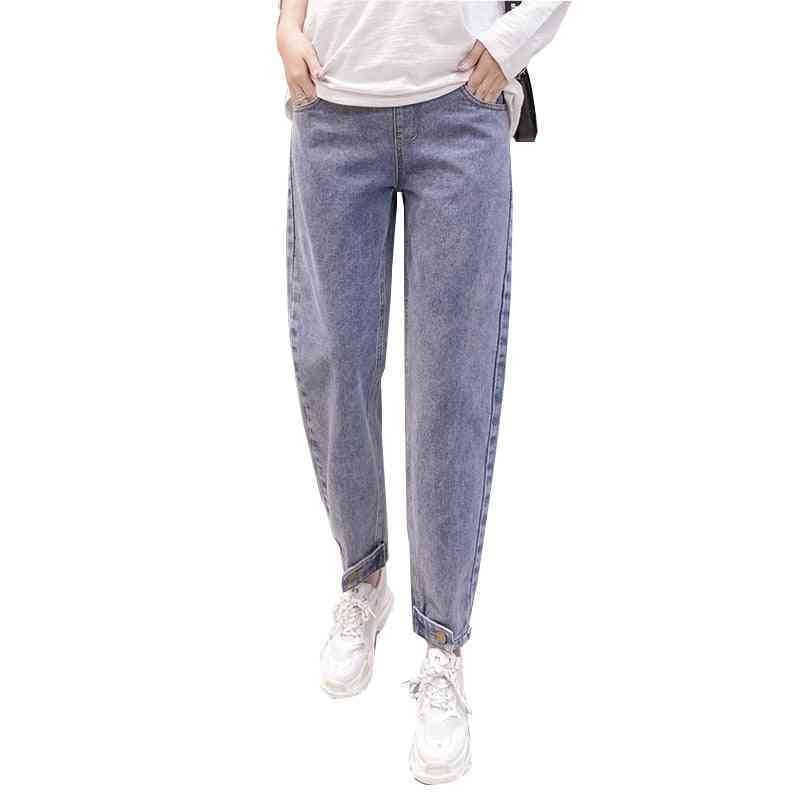 Loose Maternity Jeans High Waist Adjustable Belly Pants, Spring Fashion Pregnancy Trousers