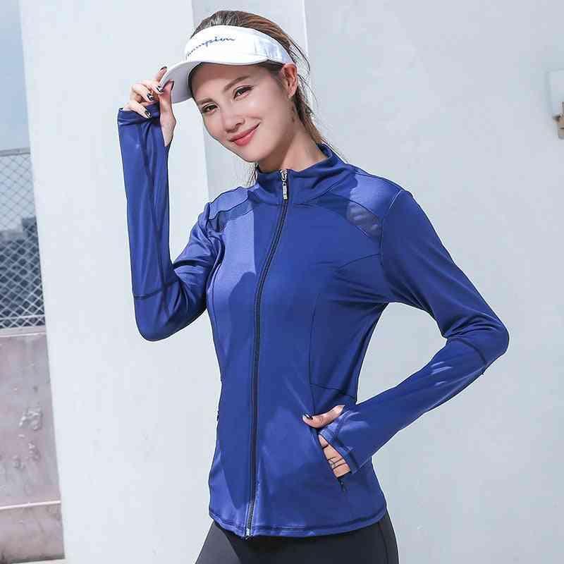 Mesh Running Women Sport Jacket, Sleeve Yoga Breathable Shirt