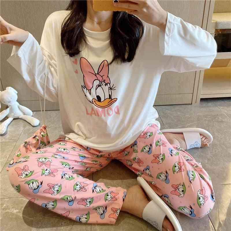 Cute Cartoon Daisy Printed, Long Sleeve Nightwear Set