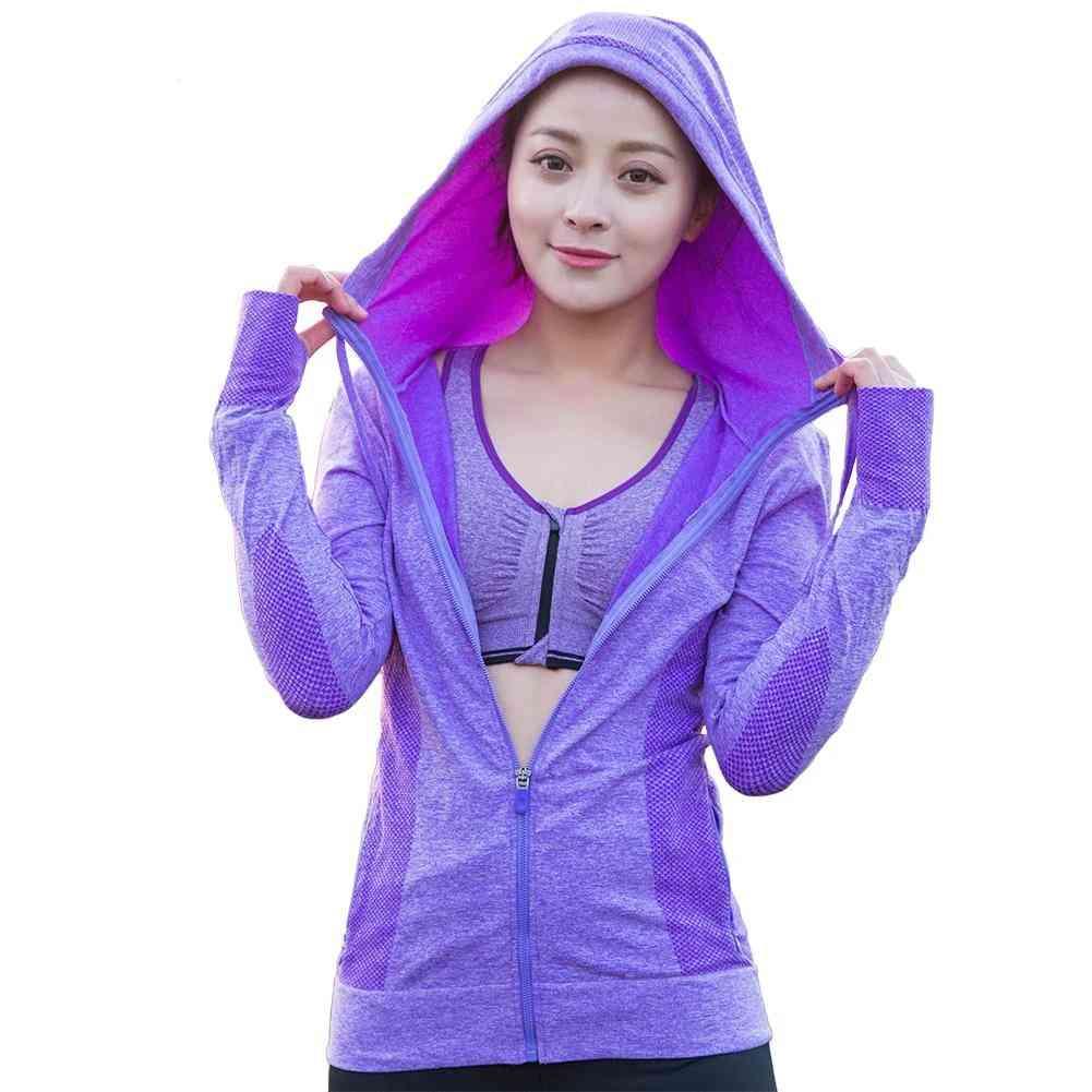 Women Zipper Hooded Sports  Fitness Jackets