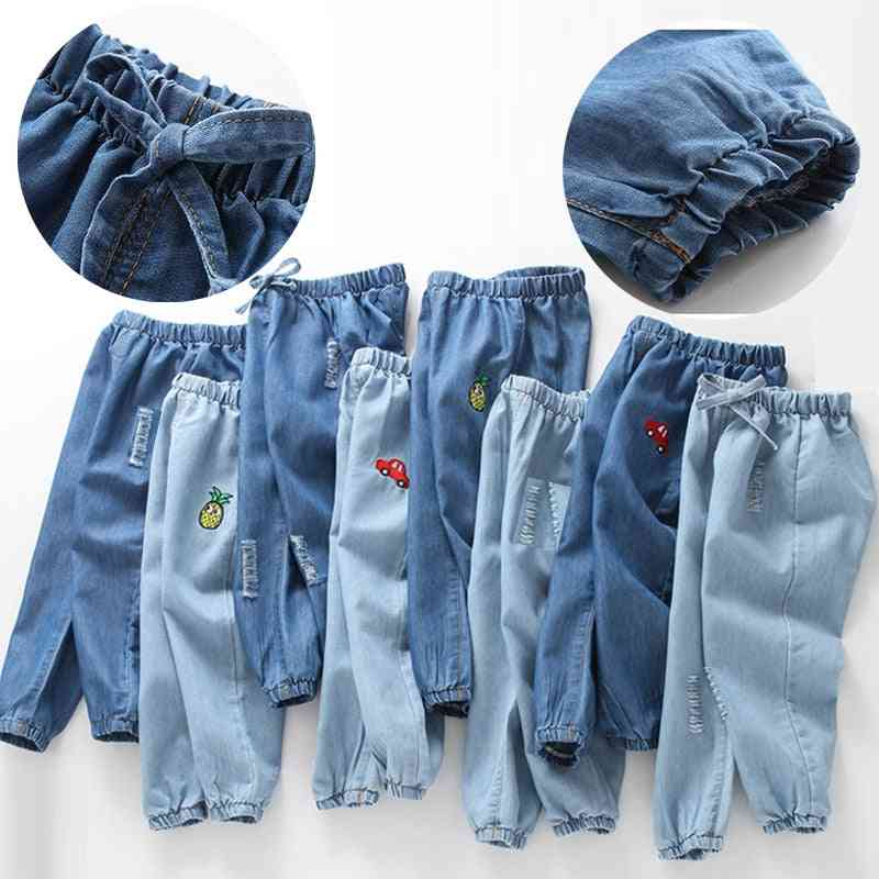 Casual Loose Cartoon Embroidered Thin Jeans For Kids