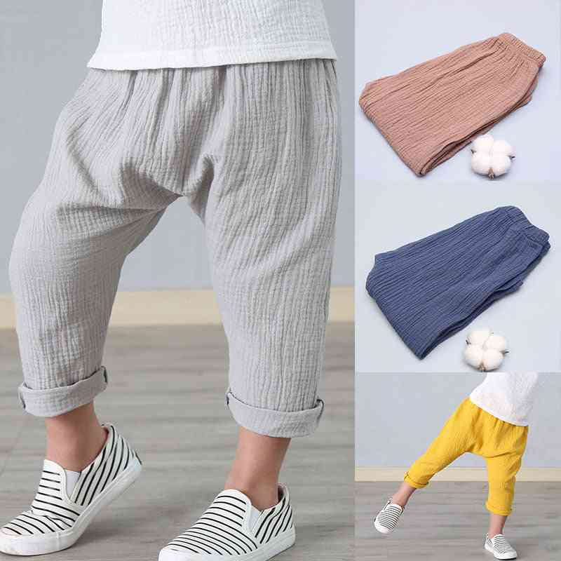 Summer Linen Pleated Ankle-length Pants For Kids