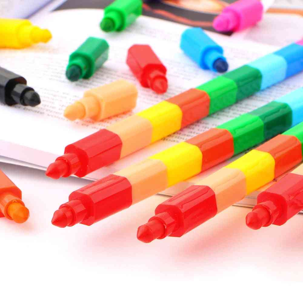 2pcs 12 Colors Crayon Creative Building Blocks Crayon Cute Kawaii Graffiti Pens For Painting