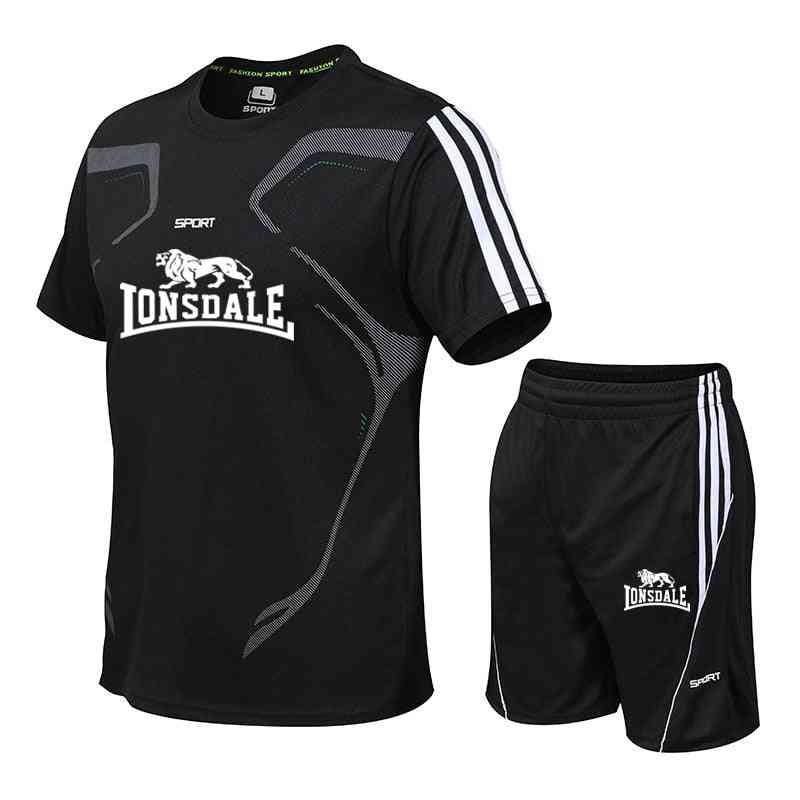 Men Casual Two Pieces Suit Short Sleeve T-shirt & Shorts Sets, Male Streetwear Tracksuit