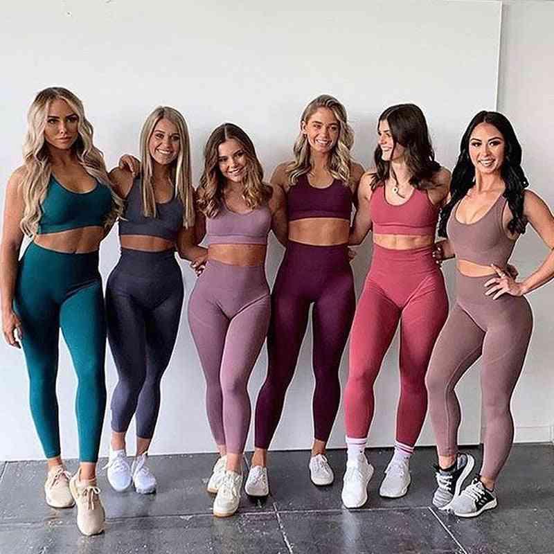 Seamless Yoga Set, Sportswear Bra & Leggings Fitness Pants Gym Running Suit