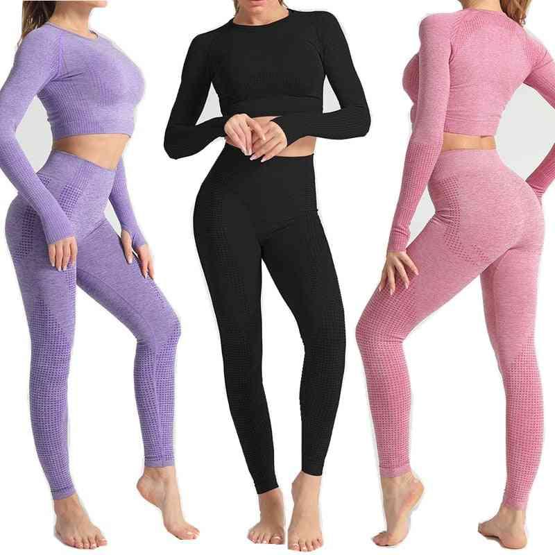 Women Seamless Yoga Set, Long Sleeve Shirts & High Waist Running Leggings