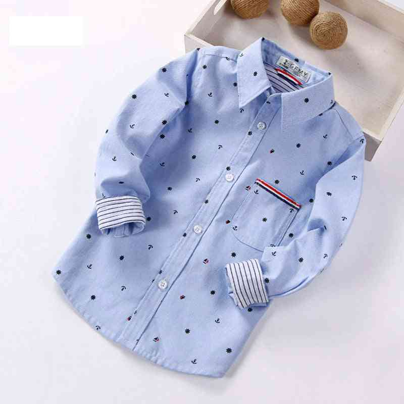 Spring Full Sleeve Printed Anchor Auspicious Pattern Boy Shirts