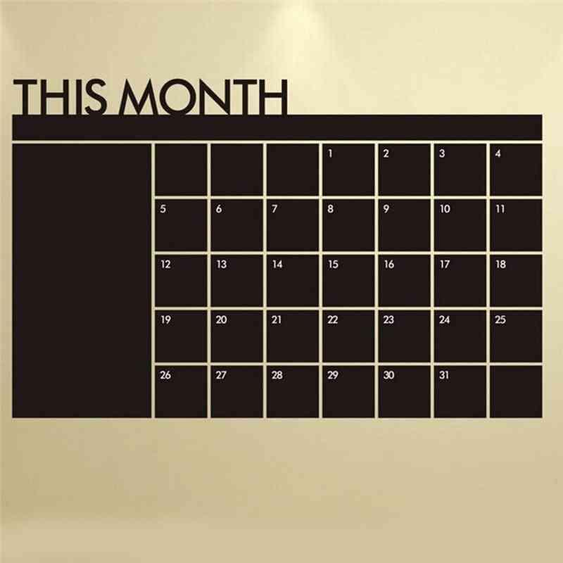 Monthly Calendar Wall Sticker Blackboard