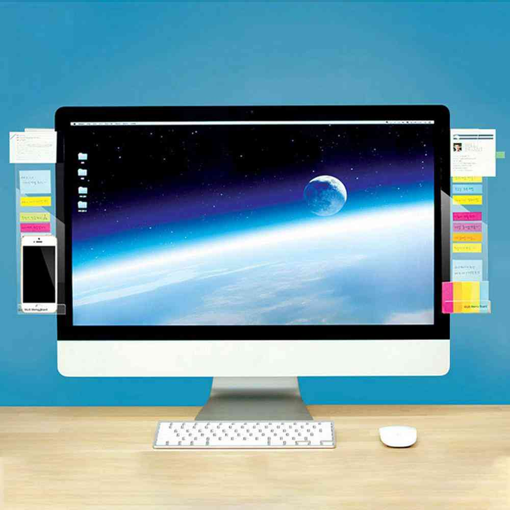 Self-adhesive Acrylic Computer Monitor Message Memo Notes, Tabs Board With Phone Charging Holder For Home Office School