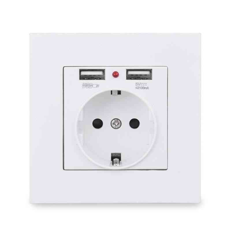 Dual Usb Charging Port 5v 2.1a Led Indicator 16a Wall Eu Power Socket Outlet