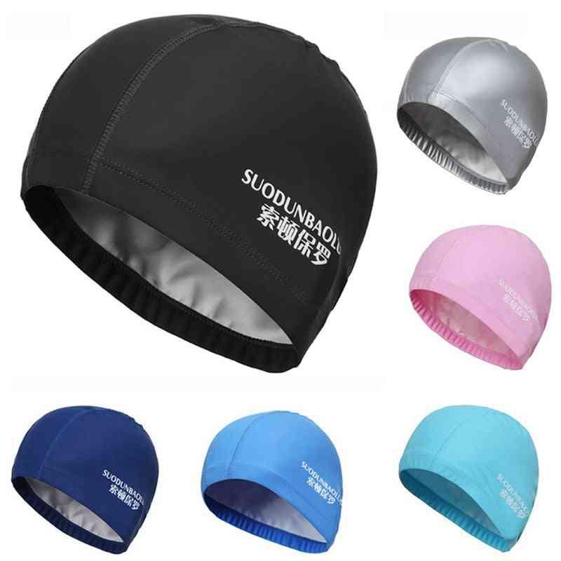 Elastic Waterproof Pu Fabric Protect Ears Long Hair Sports Swimming Cap