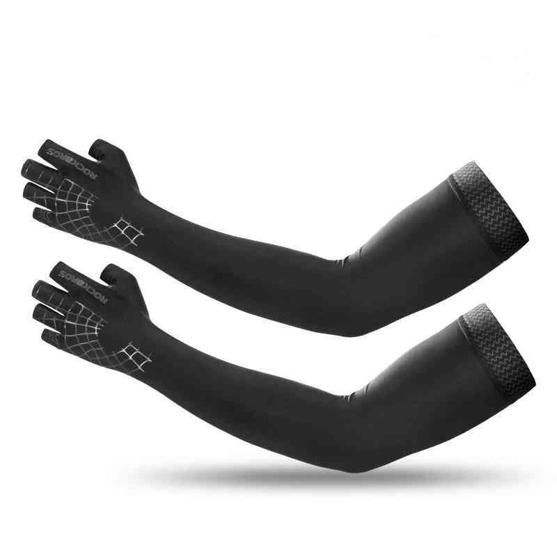 Sports Arm Sleeve Gloves, Breathable Elasticity Running Hiking Sleeves Warmer Glove