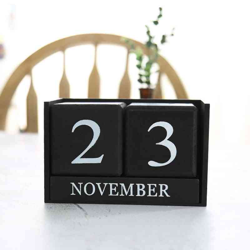 Vintage Wooden Perpetual Desk Calendars Block Planner Permanent Desktop Organizer
