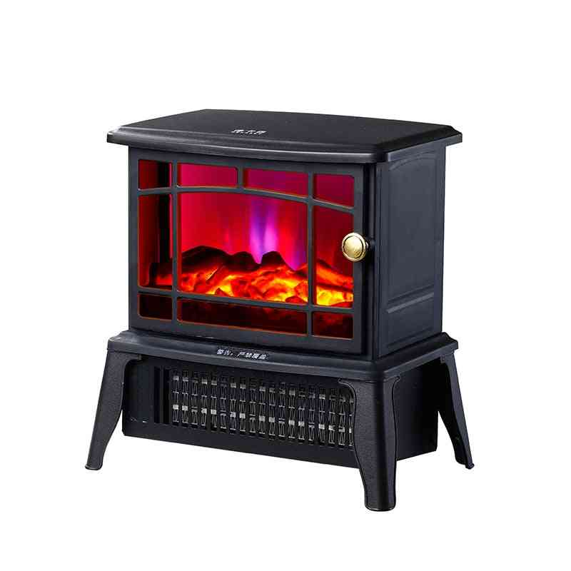 Electric Fireplace Standing Wood Stove Heater With Openable Door - Realistic Flame And Logs