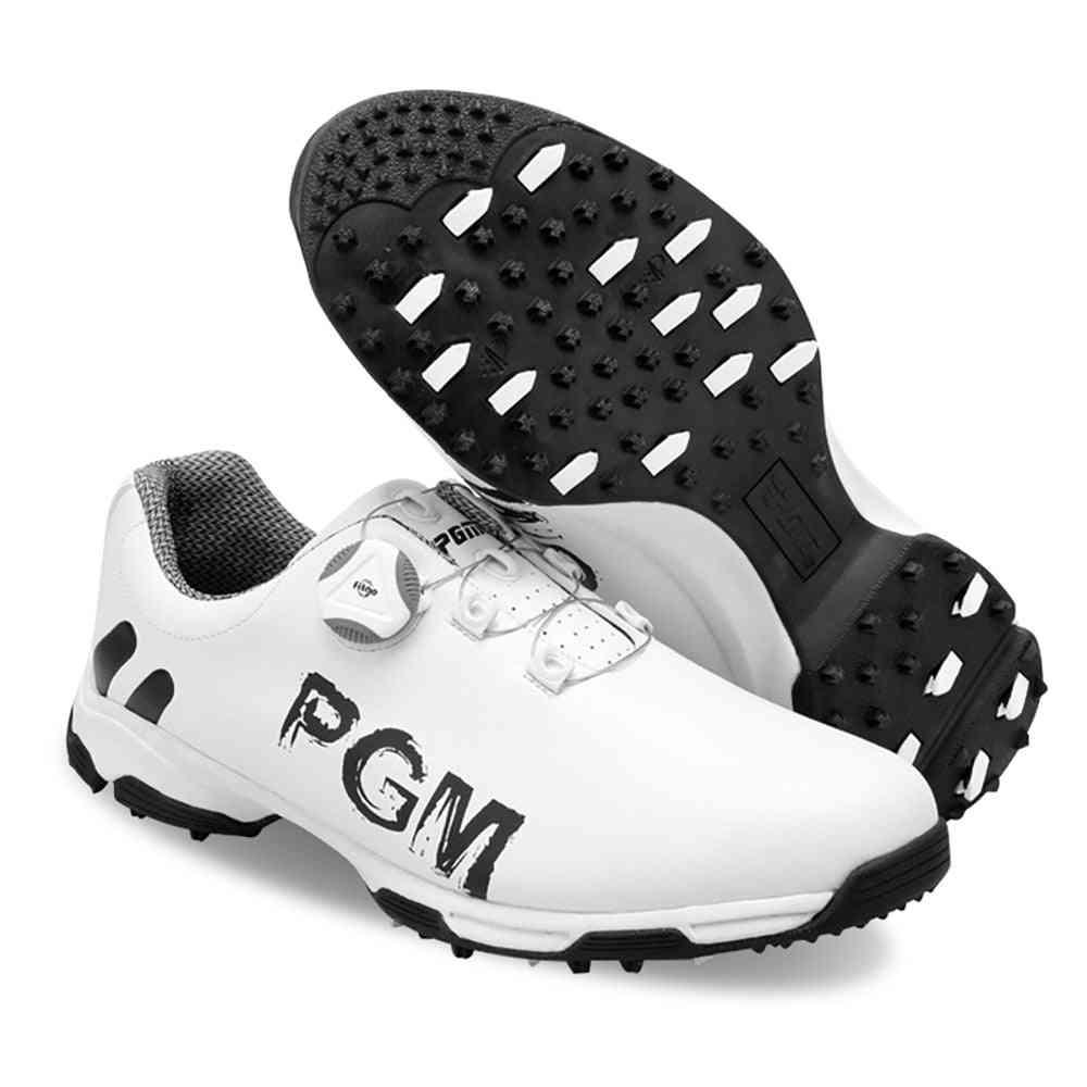 Men's Pgm Golf Shoes, Waterproof Anti-slip Golfer Patented Rotate Buckle Soft Shoe