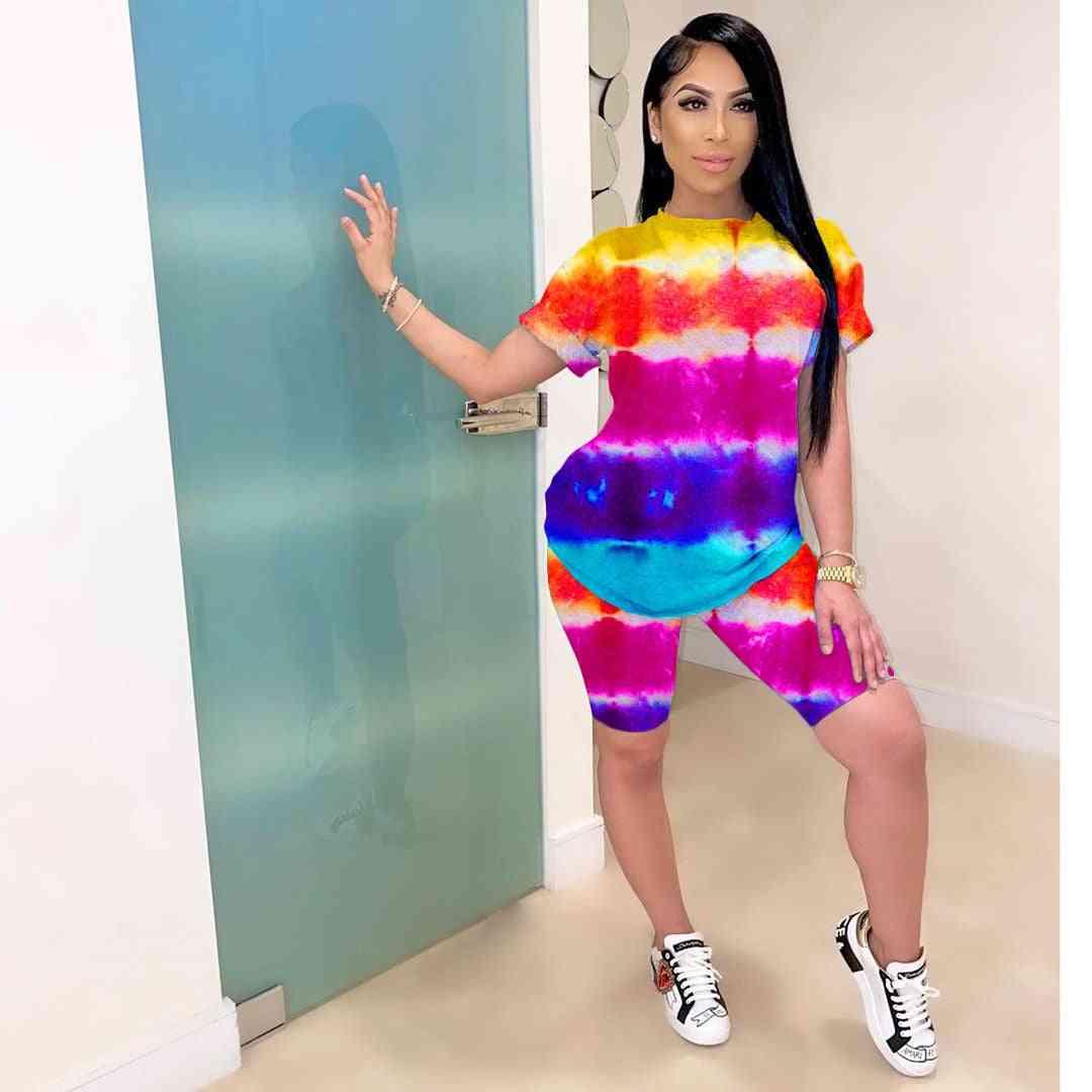 Fashion Women Tie Dye Crop Top & Short Suits