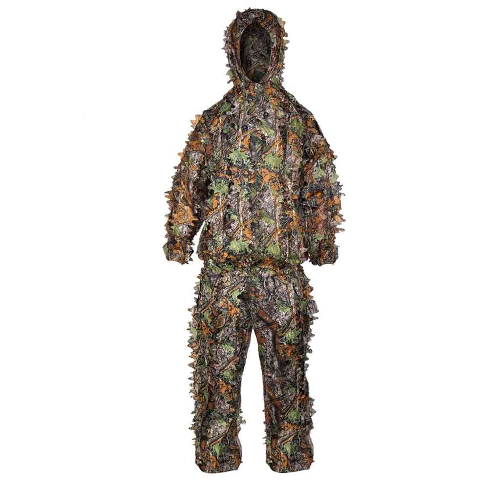 Ghillie Suits 3d Leaves Hunting Clothes, Bionic Yowie Sniper Airsoft Jacket And Pants