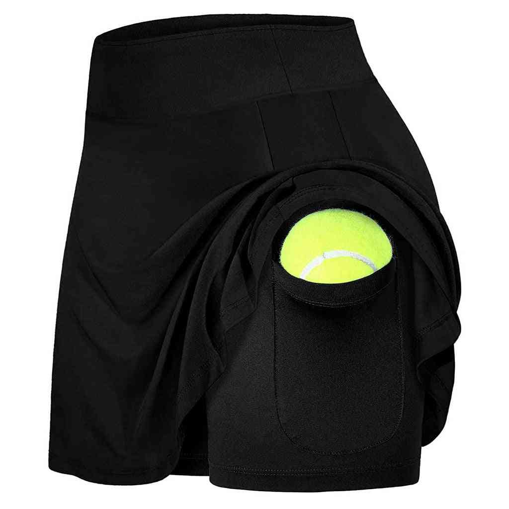 Women's Sports Active Skirts With Mesh Shorts And Pocket