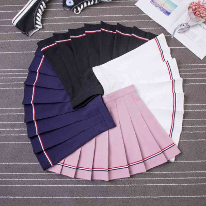 Girls Tennis Sports Skirt Pleated Striped Shorts Cotton Loose High Elastic Sweet Safety Wind
