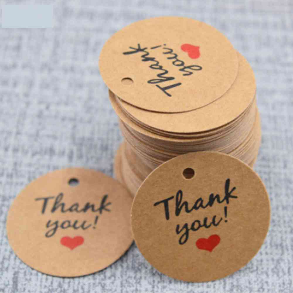 Kraft Paper Thank You Cards 3.5cm, Round Wishing Bottle Tags, Crafts Wedding/decoration