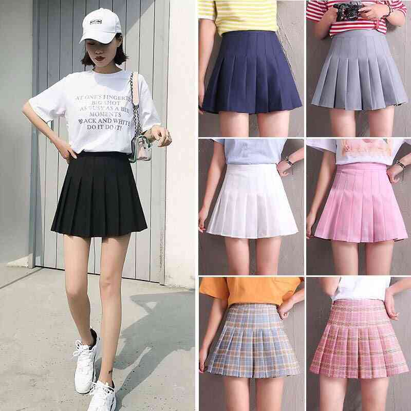 High Waist Skirt School Student Short Dresses