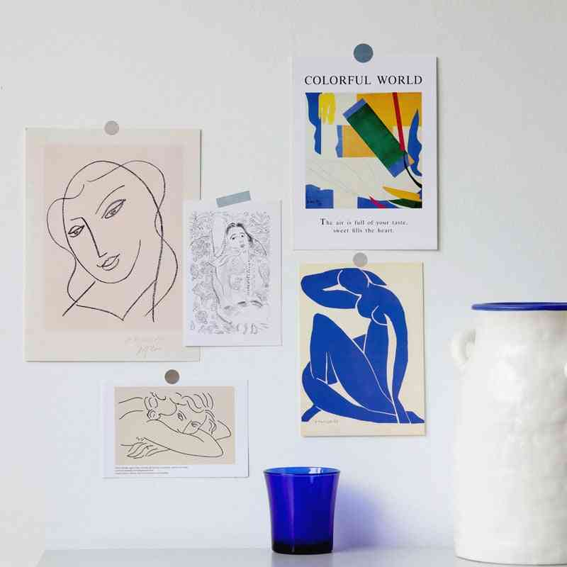 Simple Line Art Postcard, Collocation Decoration Card, Photo Frame