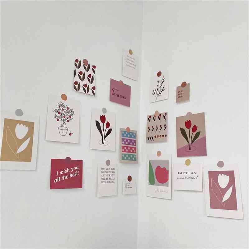 Art Postcard Korean Simple Style Flowers Diy Wall Sticker Tulip Decoration Card Set