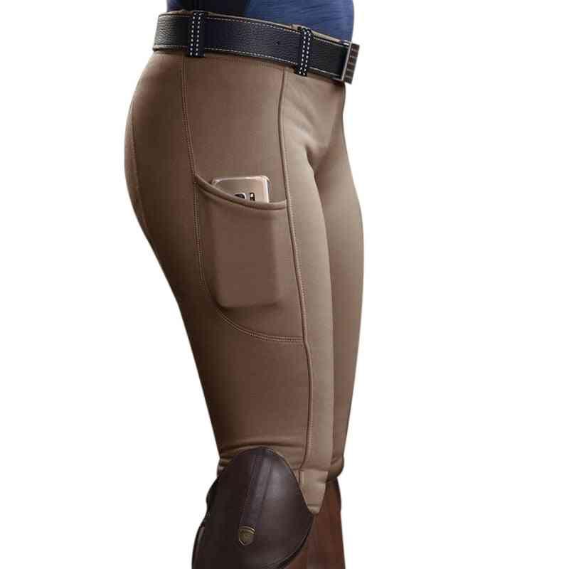 Women Solid Horse Riding Leggings, High Waist Yoga Pants