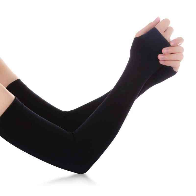 Ice Fabric Arm Sleeves Summer Sports Uv Protection Running, Cycling & Driving Reflective Sunscreen Bands Arm