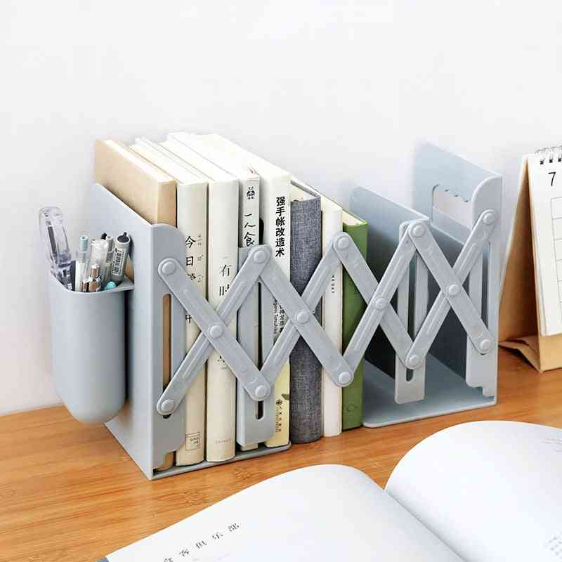 Retractable Bookends For Shelves With Pen Holder