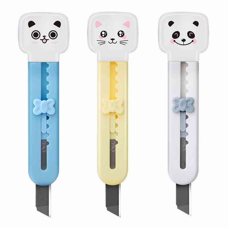 Cute Mini Cartoon Cat Portable Utility Knife, Plastic Protective Shell Safe, Paper Cutter Stationery