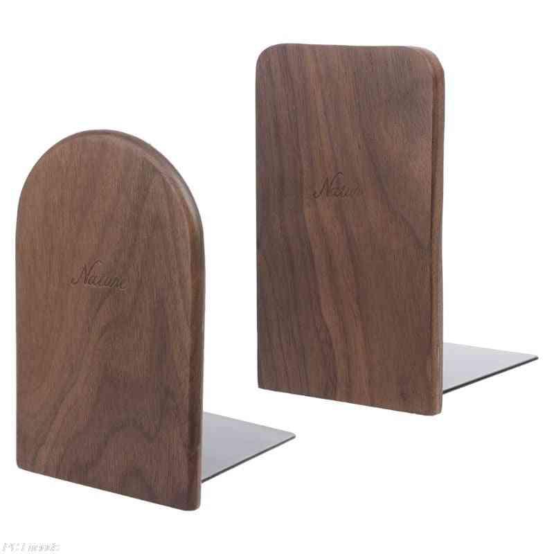 Walnut Wood Book Stand, Desktop Bookends Holder Shelf For Office, Home