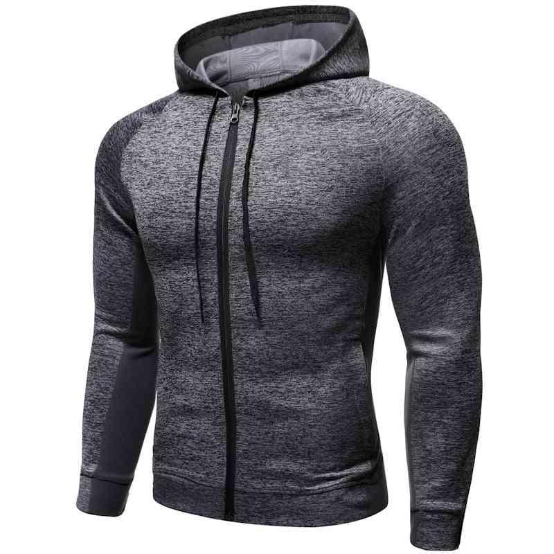 Men's Fitness Sport Coat Zipper Hooded Running Jackets For Workout Jogging