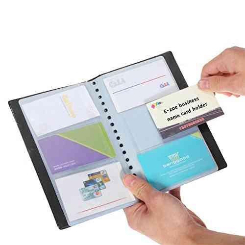 Business Card Holder, Pu Leather, Name, Id, Credit Card Rack Book Case Organizer