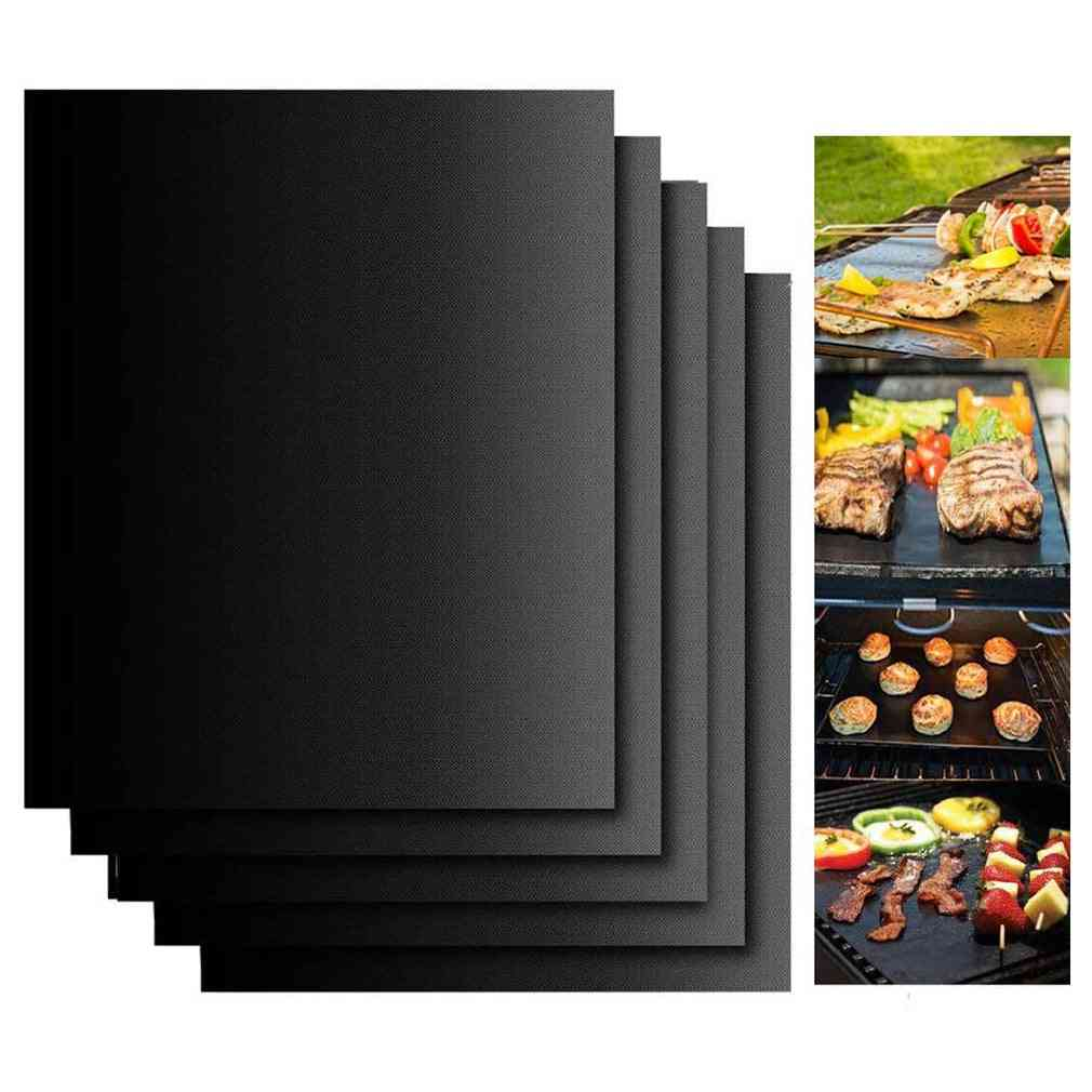 Non-stick Bbq Grill And Baking Mats, Reusable Plate Party Pad Outdoor Set