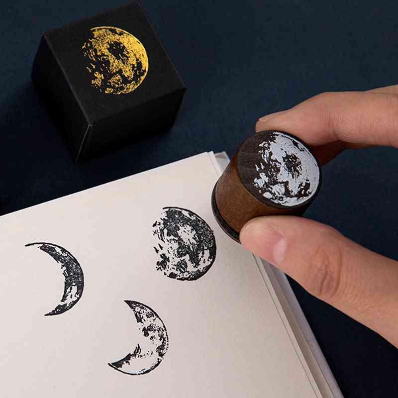 Vintage Moon Series Wooden Stamp