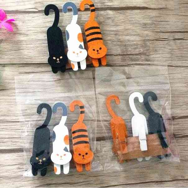 Lovely Cat Design Woodenclips Set For Photo Clips Clothespin Craft Decoration Clips Pegs
