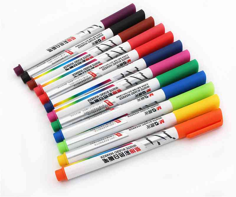 Color Whiteboard Markers, Water-based, Erasable Pen